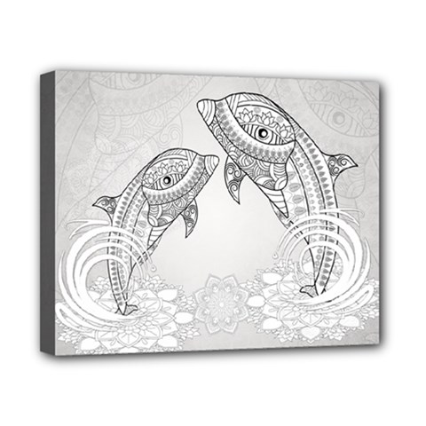 Beautiful Dolphin, Mandala Design Canvas 10  x 8