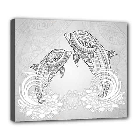 Beautiful Dolphin, Mandala Design Deluxe Canvas 24  x 20