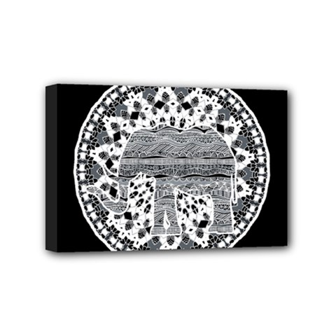 Ornate mandala elephant  Mini Canvas 6  x 4