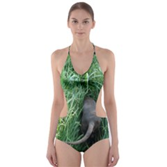 Weim In The Grass Cut-Out One Piece Swimsuit