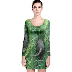 Weim In The Grass Long Sleeve Velvet Bodycon Dress