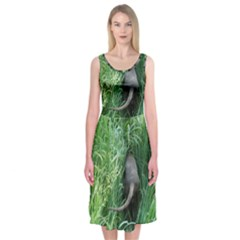 Weim In The Grass Midi Sleeveless Dress