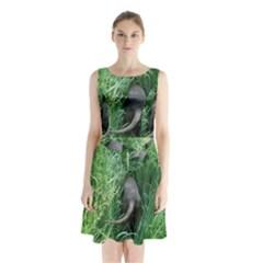 Weim In The Grass Sleeveless Waist Tie Chiffon Dress