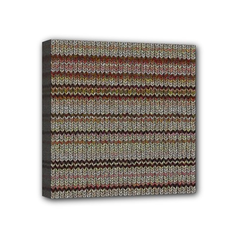 Stripy Knitted Wool Fabric Texture Mini Canvas 4  X 4