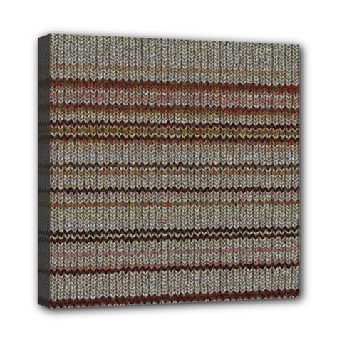 Stripy Knitted Wool Fabric Texture Mini Canvas 8  X 8