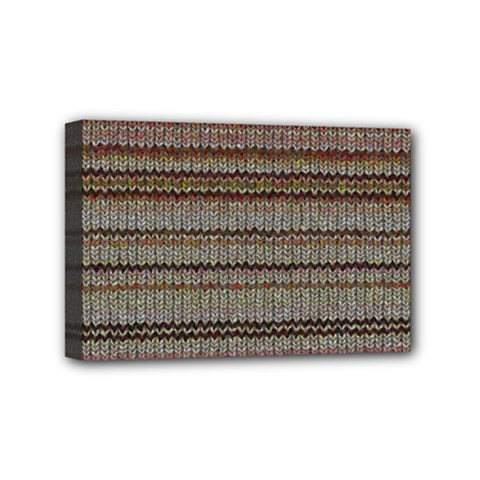 Stripy Knitted Wool Fabric Texture Mini Canvas 6  X 4