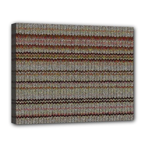 Stripy Knitted Wool Fabric Texture Canvas 14  X 11