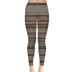 Stripy Knitted Wool Fabric Texture Leggings