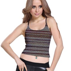 Stripy Knitted Wool Fabric Texture Spaghetti Strap Bra Top