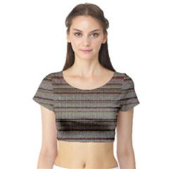 Stripy Knitted Wool Fabric Texture Short Sleeve Crop Top (Tight Fit)