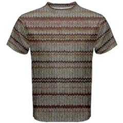 Stripy Knitted Wool Fabric Texture Men s Cotton Tee