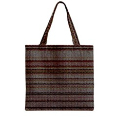 Stripy Knitted Wool Fabric Texture Grocery Tote Bag