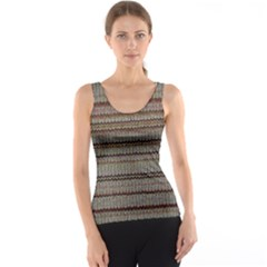Stripy Knitted Wool Fabric Texture Tank Top