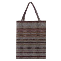 Stripy Knitted Wool Fabric Texture Classic Tote Bag