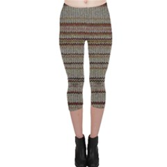 Stripy Knitted Wool Fabric Texture Capri Leggings