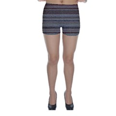 Stripy Knitted Wool Fabric Texture Skinny Shorts