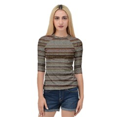 Stripy Knitted Wool Fabric Texture Quarter Sleeve Tee