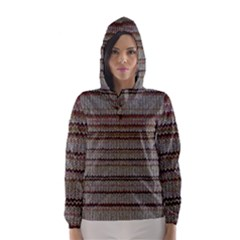 Stripy Knitted Wool Fabric Texture Hooded Wind Breaker (Women)