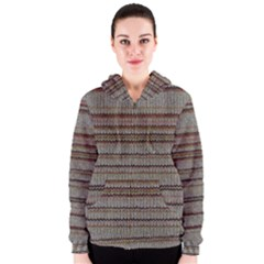 Stripy Knitted Wool Fabric Texture Women s Zipper Hoodie