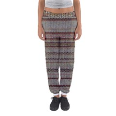 Stripy Knitted Wool Fabric Texture Women s Jogger Sweatpants