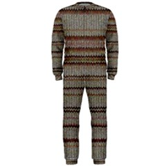 Stripy Knitted Wool Fabric Texture Onepiece Jumpsuit (men)