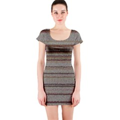 Stripy Knitted Wool Fabric Texture Short Sleeve Bodycon Dress