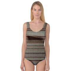 Stripy Knitted Wool Fabric Texture Princess Tank Leotard