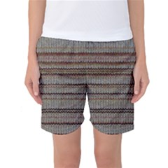 Stripy Knitted Wool Fabric Texture Women s Basketball Shorts
