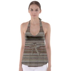 Stripy Knitted Wool Fabric Texture Babydoll Tankini Top