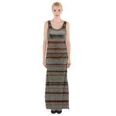Stripy Knitted Wool Fabric Texture Maxi Thigh Split Dress