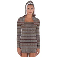 Stripy Knitted Wool Fabric Texture Women s Long Sleeve Hooded T-shirt