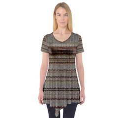 Stripy Knitted Wool Fabric Texture Short Sleeve Tunic