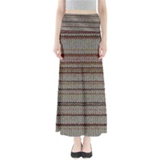 Stripy Knitted Wool Fabric Texture Full Length Maxi Skirt