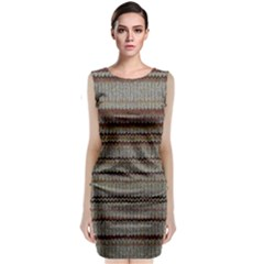 Stripy Knitted Wool Fabric Texture Classic Sleeveless Midi Dress