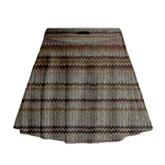 Stripy Knitted Wool Fabric Texture Mini Flare Skirt
