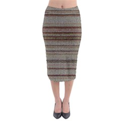 Stripy Knitted Wool Fabric Texture Midi Pencil Skirt