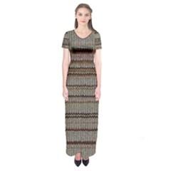Stripy Knitted Wool Fabric Texture Short Sleeve Maxi Dress