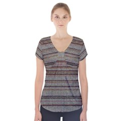 Stripy Knitted Wool Fabric Texture Short Sleeve Front Detail Top