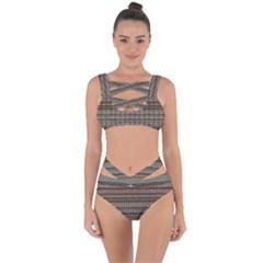 Stripy Knitted Wool Fabric Texture Bandaged Up Bikini Set