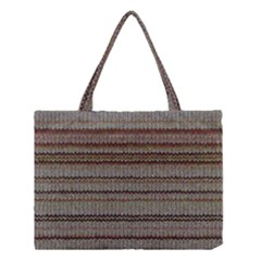 Stripy Knitted Wool Fabric Texture Medium Tote Bag
