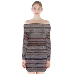 Stripy Knitted Wool Fabric Texture Long Sleeve Off Shoulder Dress