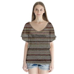 Stripy Knitted Wool Fabric Texture Flutter Sleeve Top