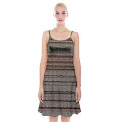 Stripy Knitted Wool Fabric Texture Spaghetti Strap Velvet Dress