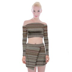 Stripy Knitted Wool Fabric Texture Off Shoulder Top With Skirt Set