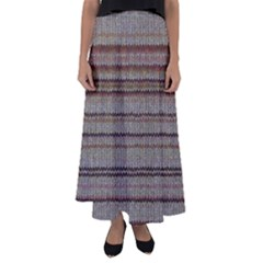 Stripy Knitted Wool Fabric Texture Flared Maxi Skirt