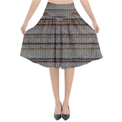 Stripy Knitted Wool Fabric Texture Flared Midi Skirt