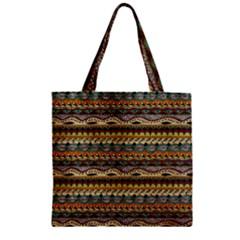 Aztec Pattern Zipper Grocery Tote Bag
