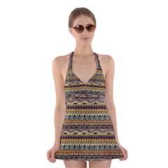 Aztec Pattern Halter Swimsuit Dress