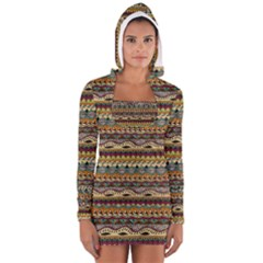 Aztec Pattern Women s Long Sleeve Hooded T Shirt