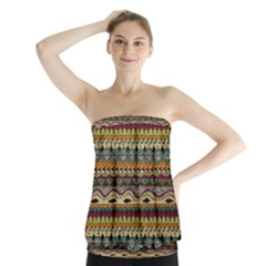 Aztec Pattern Strapless Top